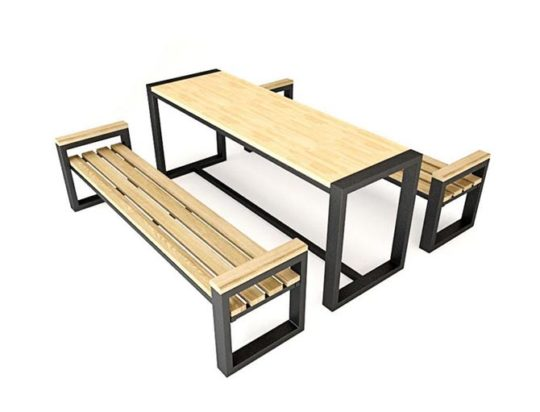 Garden furniture loft table and two benches, 6